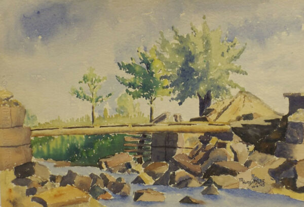 """ Pont De La Blanco Entre Ammerschrihr-kienzheim"" Aqua. Sign. / Dat. M."