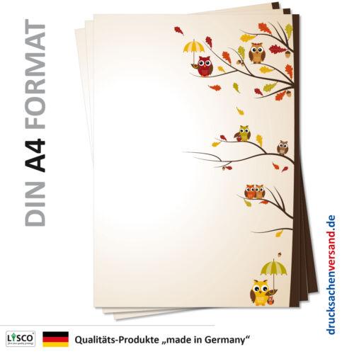 25 Blatt Motivpapier-5139 A4 gelbe braune Herbst Eulen Briefpapier Eulenpapier