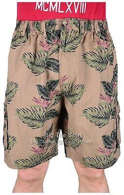 Big Mens Khaki Espionage Java Floral Cargo Shorts 2xl 3xl 4xl 5xl 6xl 7xl 8xl