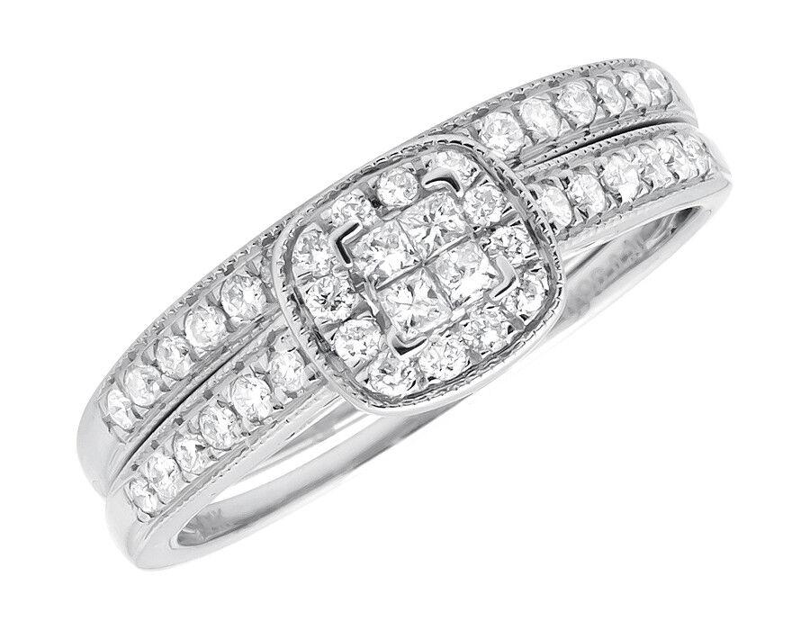 14K White gold Milgrain Princess Quad Halo Engagement Wedding Bridal Set 0.50ct