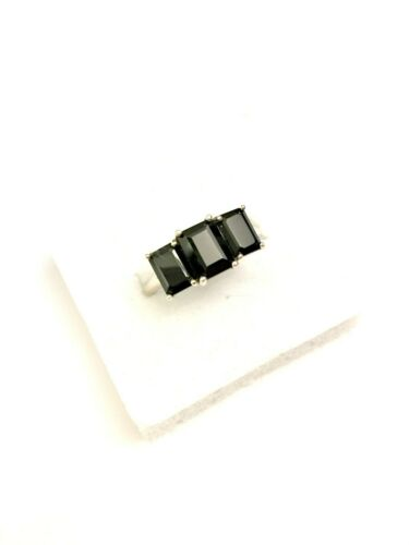 4.05ct Boi Ploi Black Spinel 3-Stone Ring in 925 Sterling Silver UK Size S