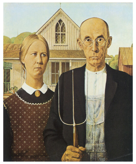 Wood - American Gothic (1930) Art Canvas/Poster Print A3/A2/A1