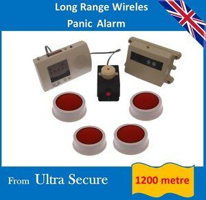 Long Range (1200 mtre) Wireless Panic Alarm, Latching Siren & 4 x Panic Buttons