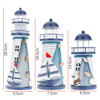 Mediterranean Nautical Color Changing Led Lighthouse
