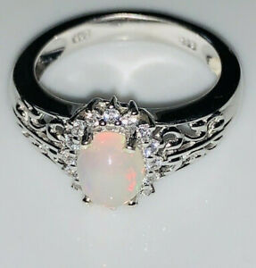 Natural Opal Sterling Silver Ring Solid opal solid silver .925 welo opal Ethiopian round prong set Fast free shipping