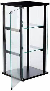 Image Is Loading Contemporary Glass Display Case Durable Standing Clear  Cabinet