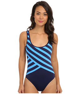 37027eea377c5 DKNY SPLICED SCOOP BACK MAILLOT ONE PIECE SWIMSUIT NAVY BLUE STRIPED ...