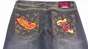 Pepe-Jeans-London-Studded-Embroidered-Womens-27-28-Skinny-Wings-32-x-33-Pants