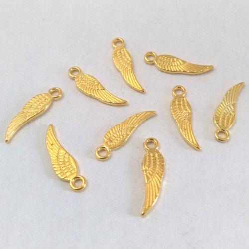 LOT de 40 PENDENTIFS DORES perles breloques AILES d/'ange oiseau 18 x 5mm WINGS
