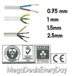 2-3-4-Core-Round-White-Flex-cable-0-75-1-1-5-2-5mm-Flexible-PCV-Extension-Wiring