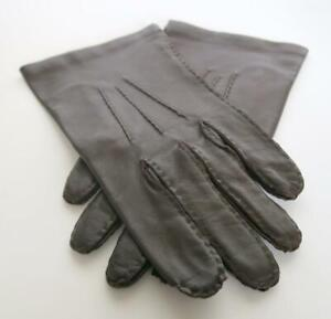 VINTAGE WOMEN/'S NAPPA BROWN LEATHER WITH LINING GLOVES SIZE:L