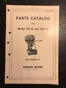 Details about Johnson 25 HP RD-15, RDL-15 Outboard Parts Catalog, 1953-54