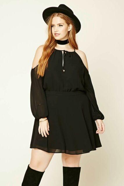 Forever 21 Plus Size Black Open-Shoulder Dress 1X