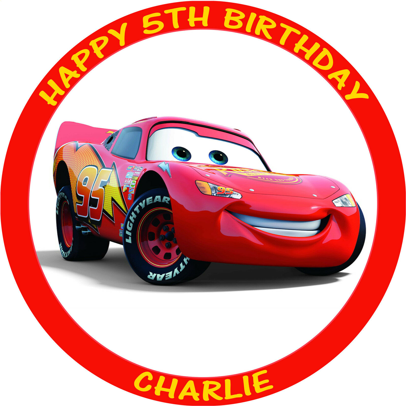 CARS LIGHTNING MCQUEEN ROUND PERSONALISED EDIBLE BIRTHDAY ...