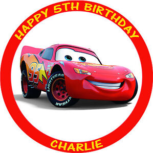 CARS LIGHTNING MCQUEEN ROUND PERSONALISED EDIBLE BIRTHDAY CAKE