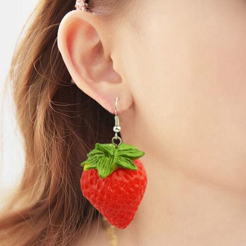 Red Strawberry Shape Dangle Earrings Fruit Statement Earrings for Women Gifts