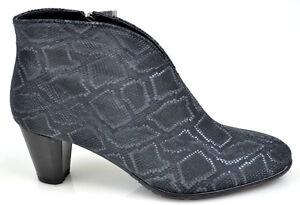 ara Damen elegante Stiefeletten Schuhe Pumps Schlangen Leder Optik grau Neu