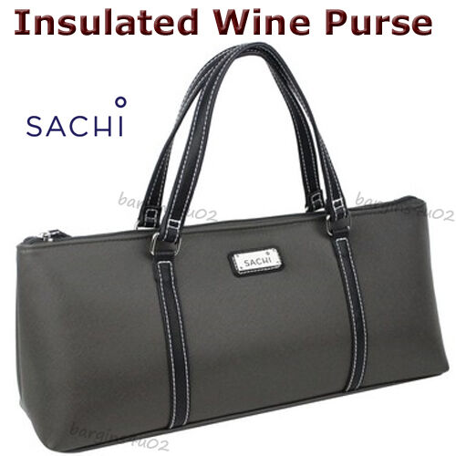 Item 4 Sachi Wine Bottle Insulated Cooler Bag Tote Carrier Purse Handbag Lunch Charcoal