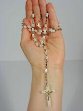 Chapelet nacre et argent Christ rosaire XIXème