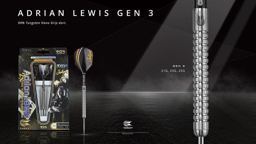 Adrian Lewis Generation 3 90% Tungsten Steel Tip Darts by Target