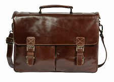 Mens Real Leather BROWN Briefcase Shoulder Laptop Documents Satchel Office BAG