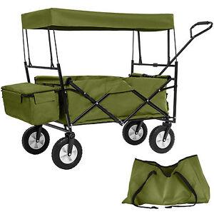 bollerwagen mit dach klappbar faltbar handwagen gartenwagen transportkarre gr n ebay. Black Bedroom Furniture Sets. Home Design Ideas