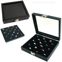 Ring Box Organizer Jewelry Holder Glass Top Display Case Tray 36 Slots Storage