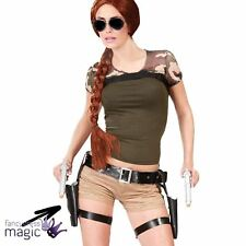 Adults Double Holster Black Belt With 2 Guns Lara Croft Fancy Dress Accessory