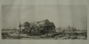 Strict Rembrandt Van Rijn Paysage Au Canal Et Au Cygne Rare Grande Gravure Xixème Vous Garder En Forme Tout Le Temps