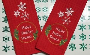 Embroidered Christmas Kitchen Towels Decorative Holiday Dish Towels Set Of 2 Ebay