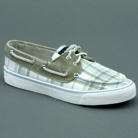 Sperry Top Sider Plaid Bahama Lady Military Green Mod. 9445