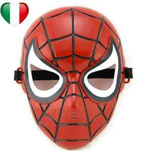 detailed look clearance sale special section Detalles de MASCHERA DI CARNEVALE SPIDER MAN RIGIDA UOMO RAGNO ROSSO PER  BAMBINI FESTA PARTY