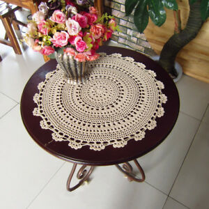 Vintage Hand Crochet Lace Doily Round Table Topper 20inch Sunflower