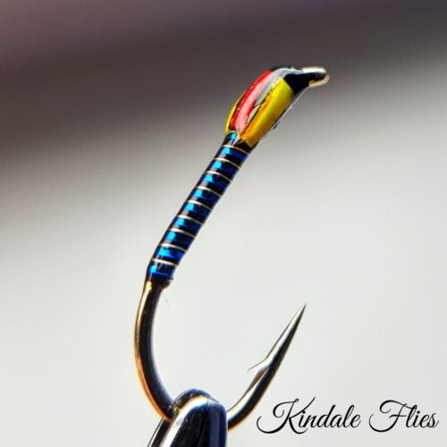 Blue Holo Buzzers size 14 Fly Fishing Straight Set of 3 Yellow