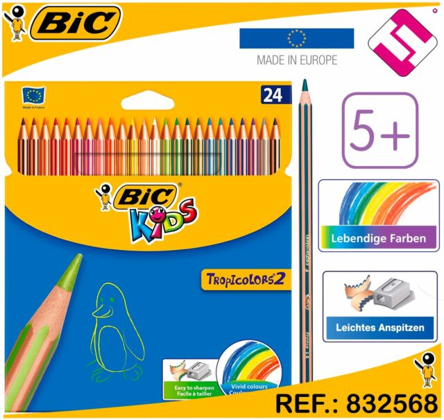 Wallet of 24 BIC Kids Tropicolors Colouring Pencils Assorted Colours