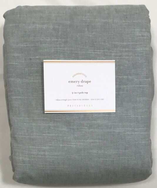 "Pottery Barn Blue Emery Linen/Cotton 96"" Double-Wide Drape"