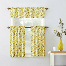 Yellow Farmhouse Country Sunflower 3 Piece Kitchen Curtains Set Tiers Valance For Sale Online