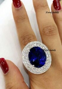 925 Sterling Silver Solitaire Ring Blue Oval Round Studded All Cz-À la carte