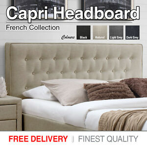 Headboard Upholstered Queen Size Bed Head Luxury Fabric Capri Black
