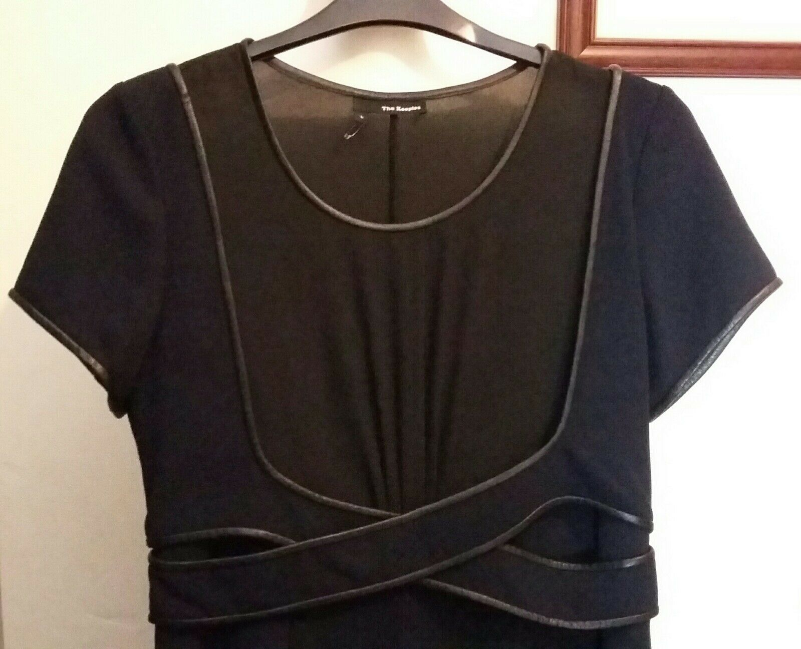 89a0c0e55ac The Kooples Leather Trim Crepe Two-toned Dress Navy / Black Size UK 12 for sale  online | eBay