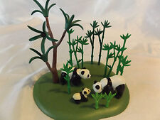 Playmobil Panda Bears w/ Cub, Bamboo Tree Landscape for Safari, Zoo, Ark Animals