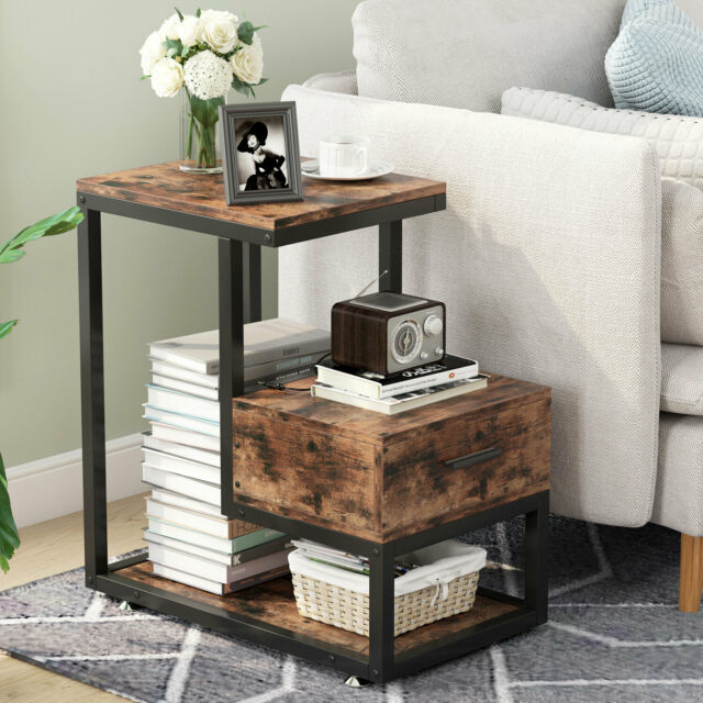 End Side Table with Storage Durable Furniture Shelf Decor Home Living Room  3Tier