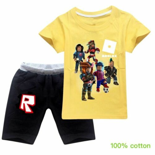 ROBLOX Summer T Shirt Top Pantalon Costume Garçons Filles Enfants Coton Outfit Survêtement