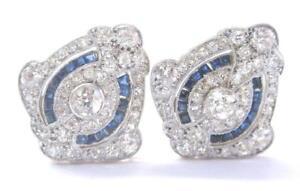 18Kt-Platine-Vintage-Ancien-Europeenne-Diamant-et-Saphir-Boucles-3-00Ct
