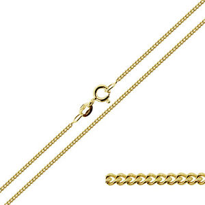 375-Solid-9ct-Yellow-Gold-16-18-20-034-Inch-0-8mm-Fine-Curb-Link-Chain-Necklace