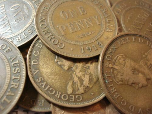 Australian 1913 Penny KGV Coin Copper Antique