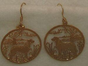 Chesapeake Bay Retriever Jewelry Gold Dangle Earrings