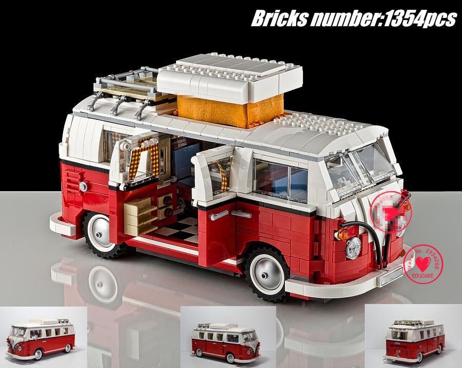 Esculturas Esculturas Esculturas Volkswagen T1 Camper Van (10220) 1354 piezas ladrillos de bloque de construcción  online barato