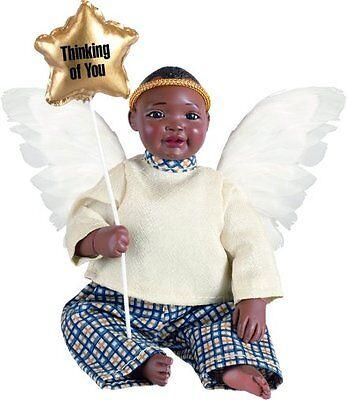 Angel Trey Afro African American Brown Black Dark New Porcelain Baby Boy Doll