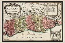 MAP 17TH CENTURY HOLLAR SUSSEX COUNTY ENGLAND LARGE REPLICA POSTER PRINT PAM0255